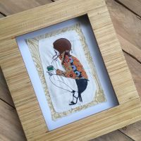 Coffee Girl  ready to frame embroidered  wall art