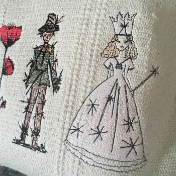 Embroidered Wizard of oz cushion custom made by Spotty Dog Handmade FORERLY