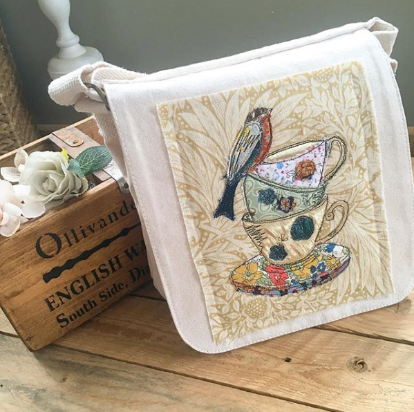 Vintage style tea cups embroidered  fair trade messenger bag