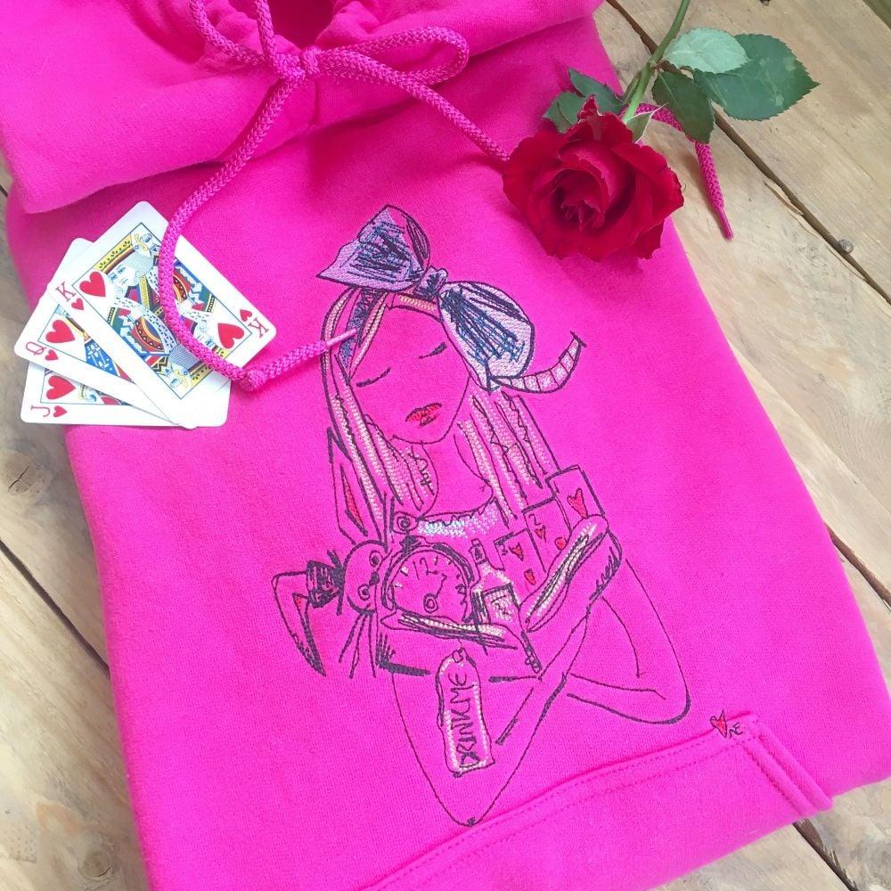 Embroidered Alice in wonderland  storybook hoodie