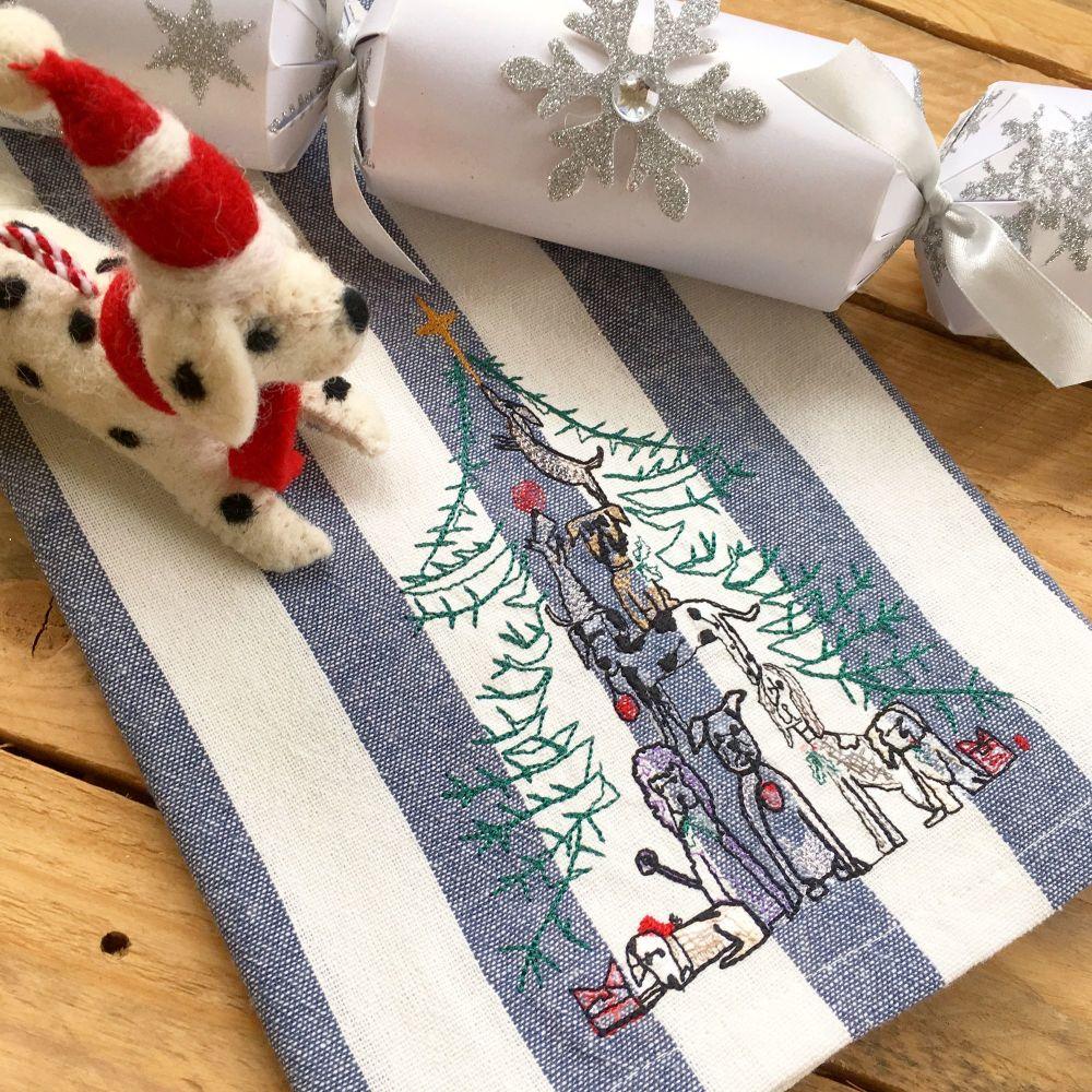 Embroidered dog family christmas tea towel