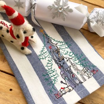 Embroidered dog family christmas tea towel