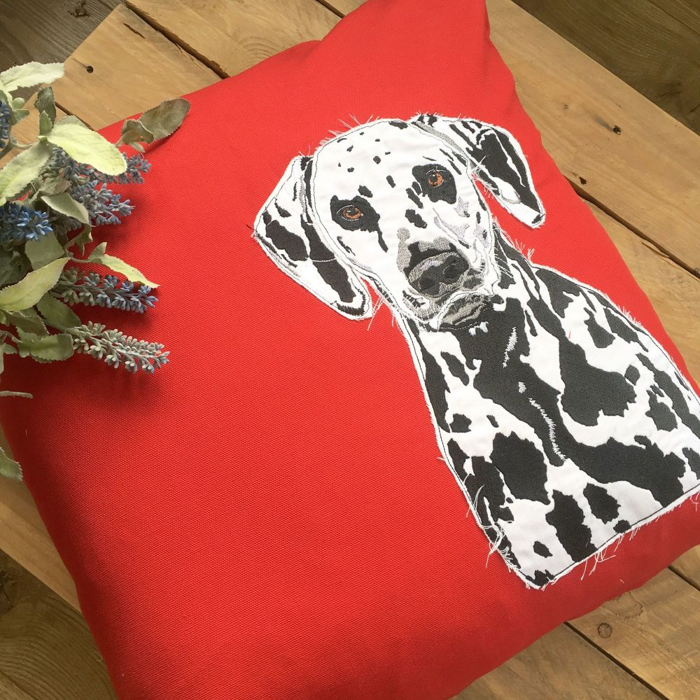 Spotty dog Dalmatian embroidered and applique cushion