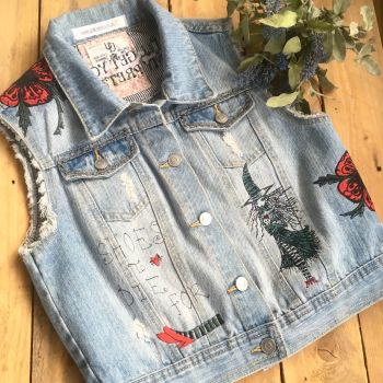 Embroidered Wizard Of Oz inspired denim waistcoat