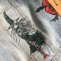 Wizard of oz embroidered upcycled denim jacket waistcoat by Spotty dog hand