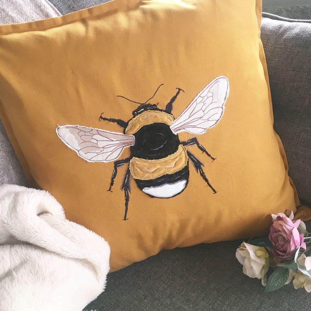 Bumble Bee  embroidered and applique cushion