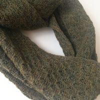 Knitted autumnal green infinity scarf
