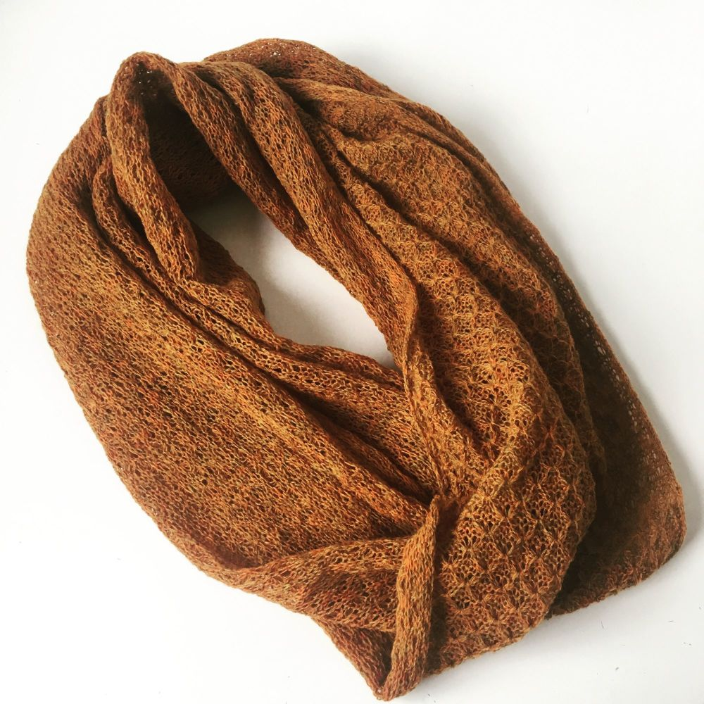 Bronze autumnal green infinity scarf