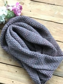 Knitted grey & pink shimmer  infinity scarf