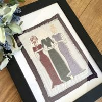 Mum and Sisters ready to frame embroidered  wall art