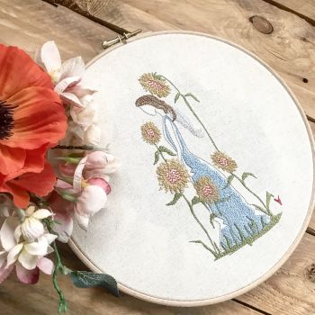 Embroidered  sunflower angel wall art