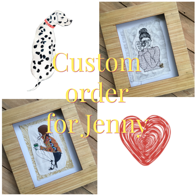 Custom order  ready to frame embroidered  wall art for Jenny