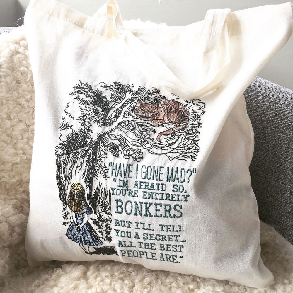 Alice in Wonderland cotton tote bag eco shopper