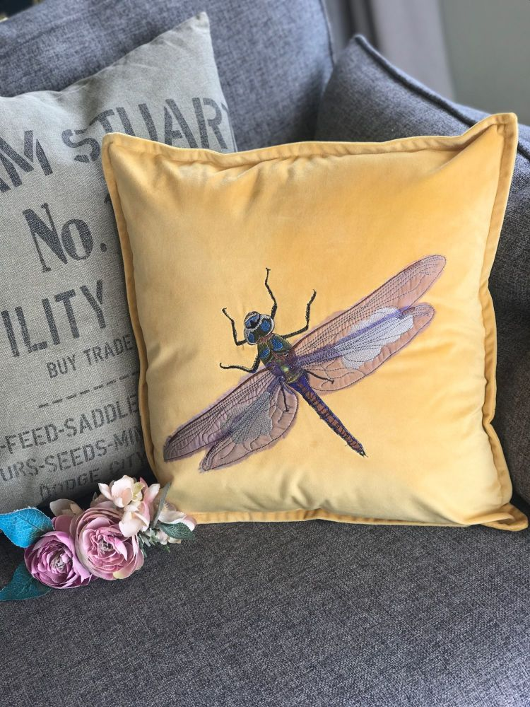 Dragonfly  embroidered and applique cushion