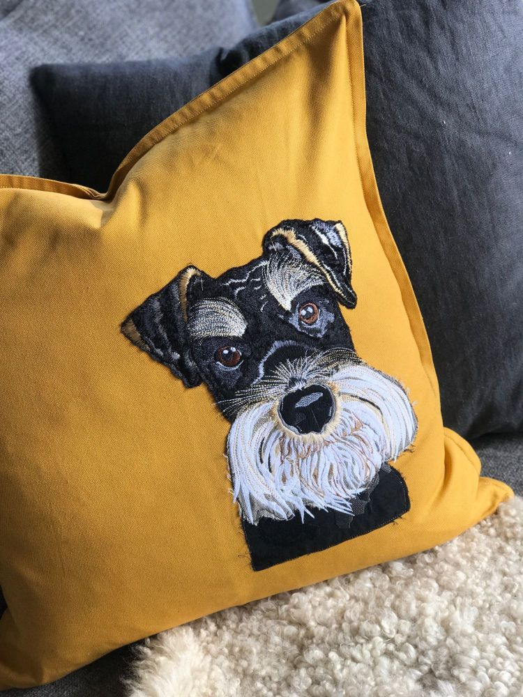 Teddi  Schnauzer embroidered  and applique pup cushion