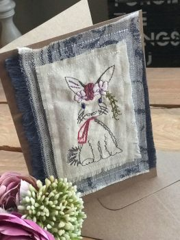 Embroidered Easter  Mrs bunny  greetings card