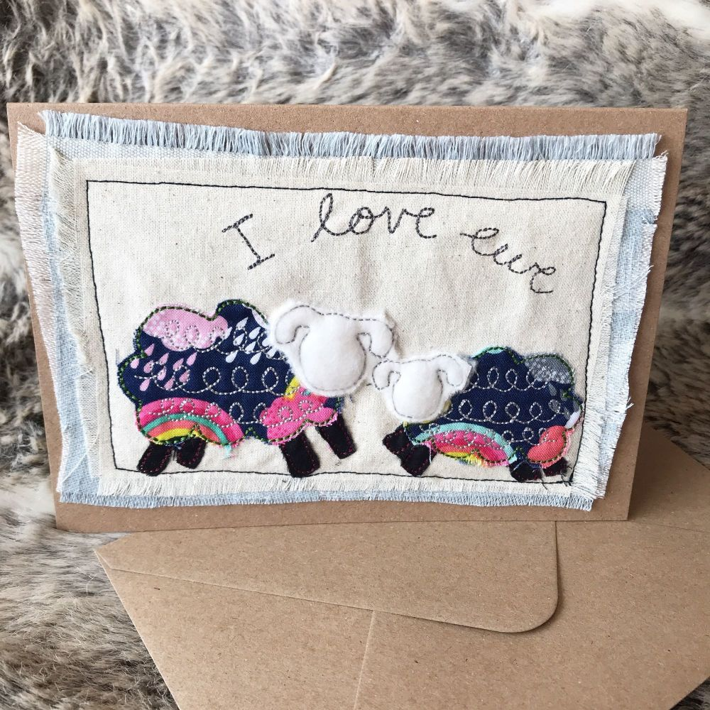 Embroidered I love ewe sheep  greetings card