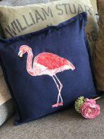 Embroidered and raw edge appliquéd Flamingo cushion