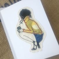 Embroidered Coffee girl  greetings card