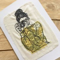 Embroidered Camera girl  greetings card