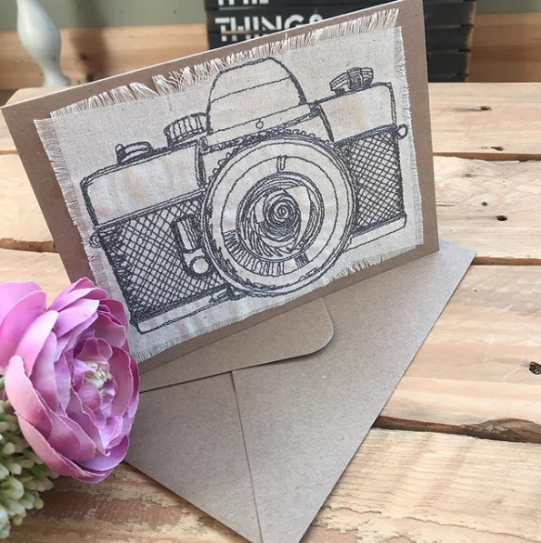 Embroidered vintage camera  greetings card