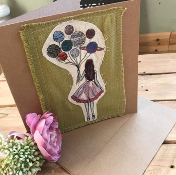 Embroidered Balloon girl  greetings card