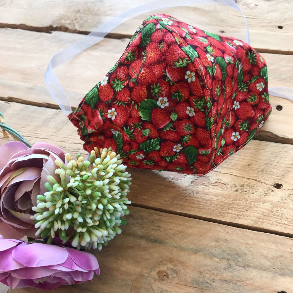 Strawberry fabric face mask with filter envelope