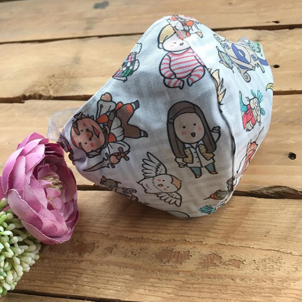 Pink floral TILDA Print cotton Face mask with filter envelope