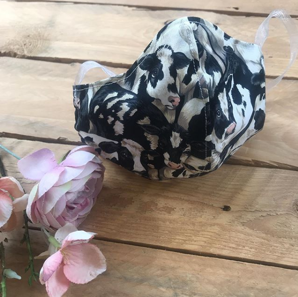 Cow print fabric Face mask with filter pocket