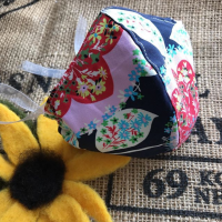 Navy blue floral Print cotton Face mask with filter pocket