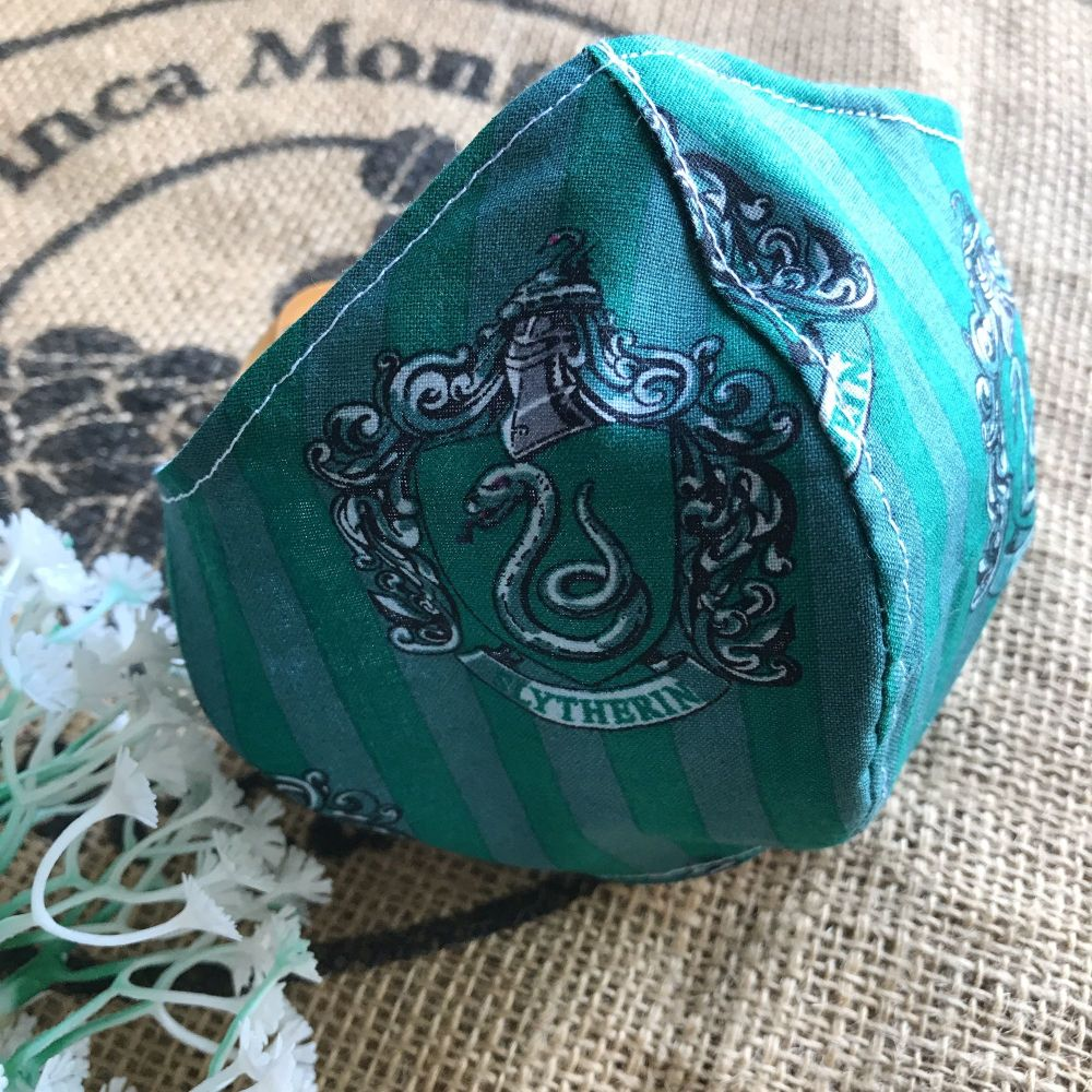 Harry Potter Slytherin cotton Face mask with filter pocket