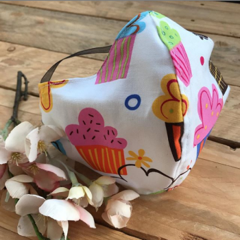 Cupcake print  cotton fabric face mask with filter pocket