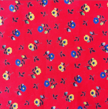 Vintage red floral 100% cotton fabric face mask with filter pocket