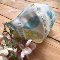 Butterfly print  cotton fabric face mask with filter pocket