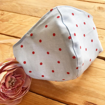 Cath Kidston blue with red spot cotton  face mask with filter pocket