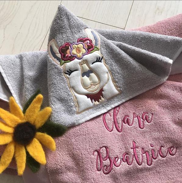 Llama love  personalised hooded baby towel