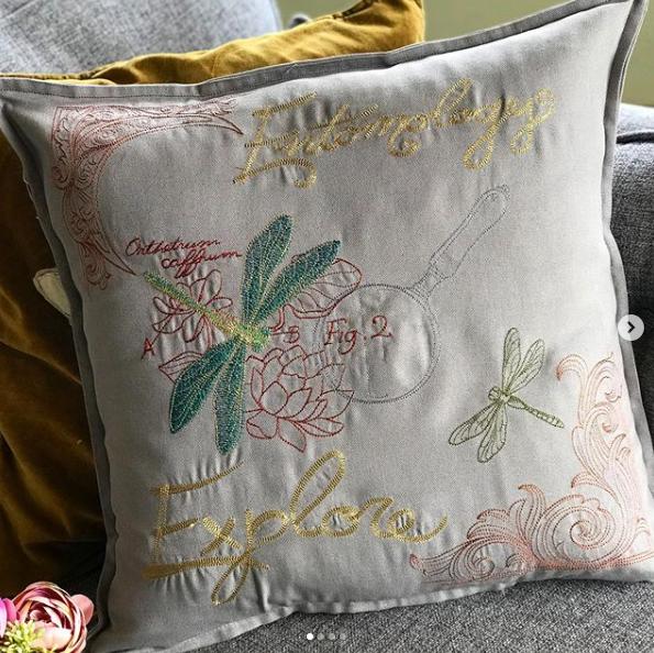Embroidered dragonfly entomology  cushion