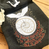 Labyrinth clock embroidered  hoodie