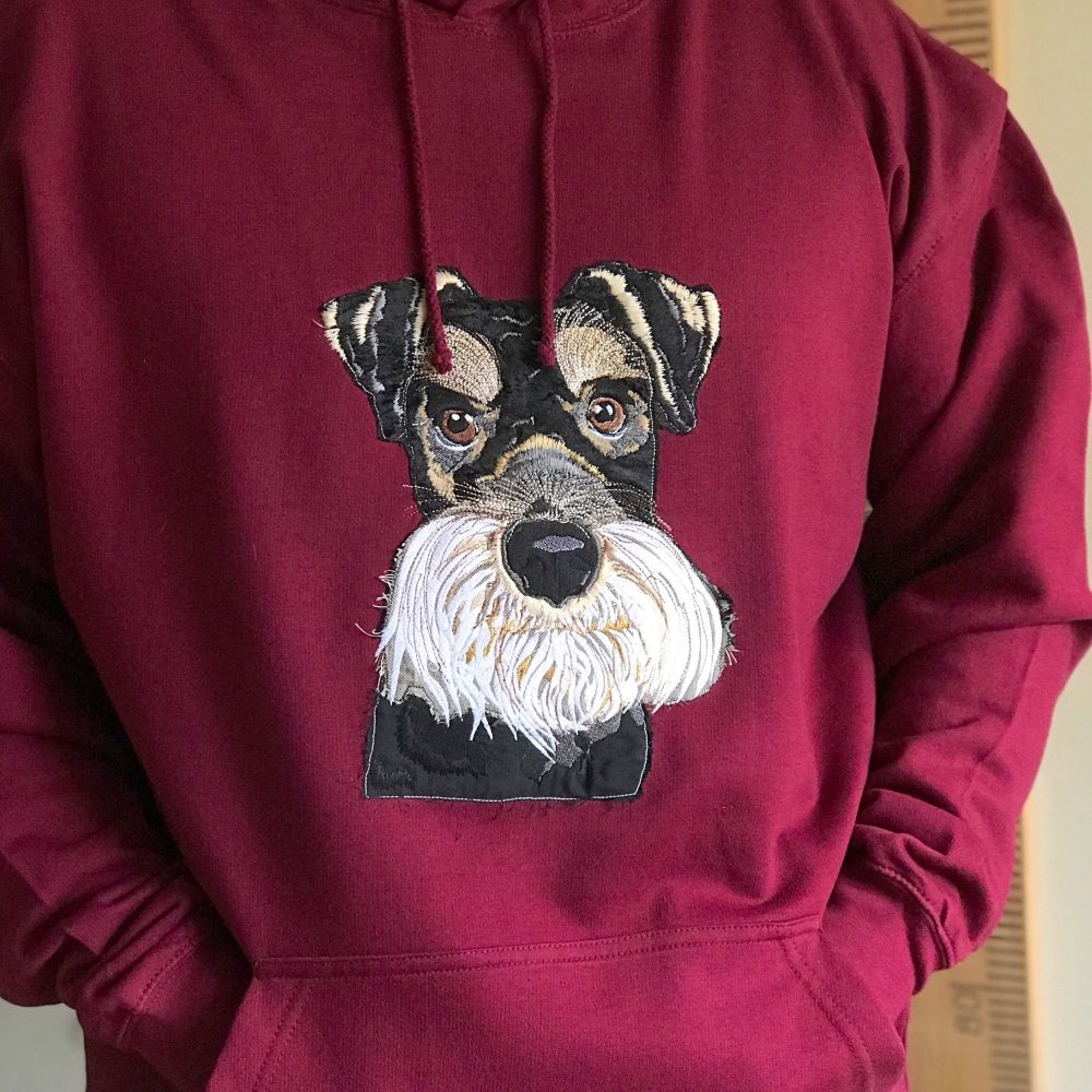 Murdock schnauzer embroidered  and applique pup hoody