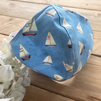 Nautical boats fabric face mask with filter pocket