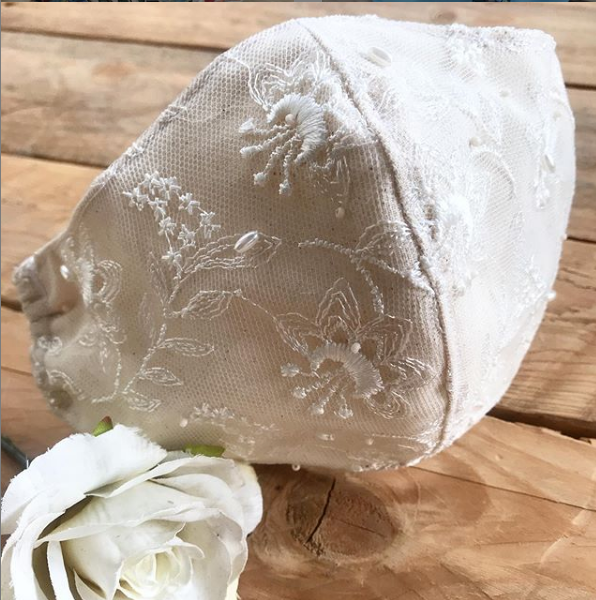 Wedding cream calico lace and beaded face mask with filter pocket