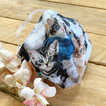 Cats & kittens 100%  cotton Face mask with filter pocket