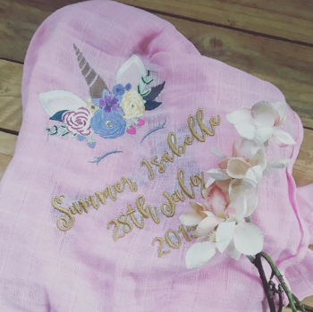 Embroidered  unicorn baby muslin square