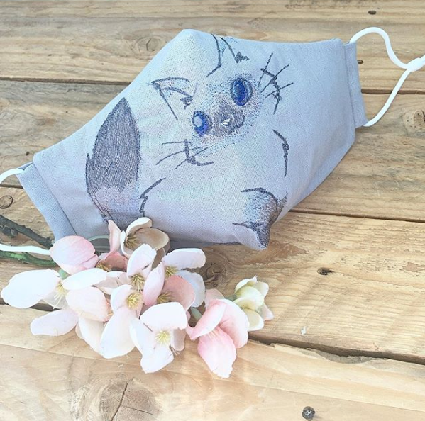 Luxury Embroidered  kitten 100% cotton face mask with filter pocket