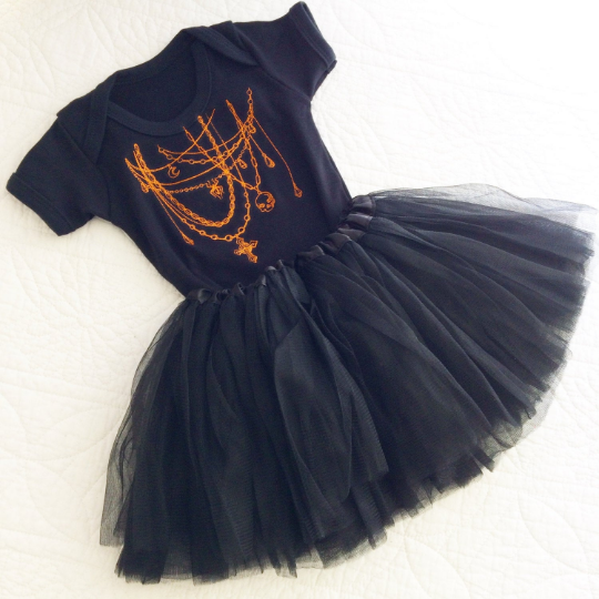 Embroidered Halloween tutu and onesie set