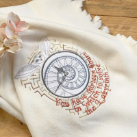 Labyrinth embroidered 13 hours   fleece baby cot blanket