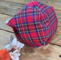 Tartan cotton face mask with filter pocket