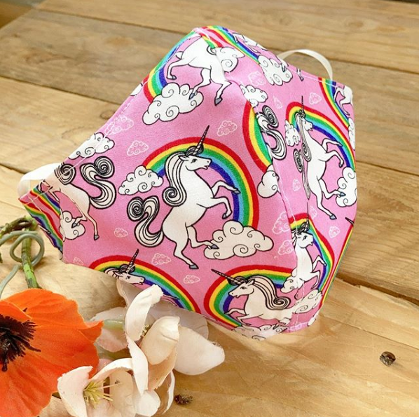 Pink Unicorns 100%  cotton face mask with filter pocket