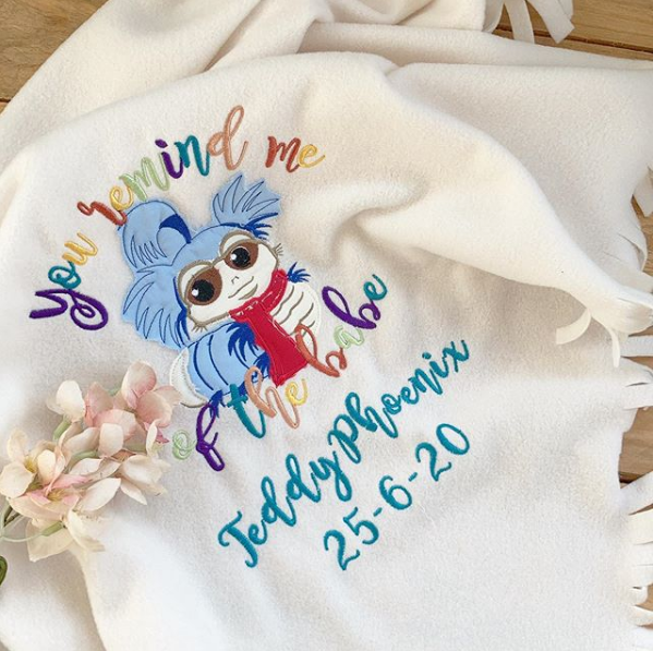 Labyrinth worm personalised cot blanket