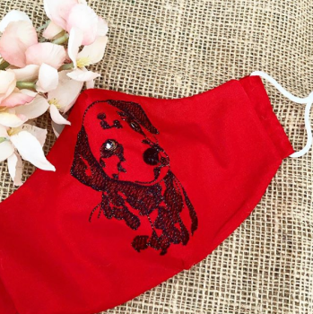 Luxury Embroidered  Dalmatian 100% cotton face mask with filter pocket